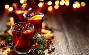 Christmas mulled red wine in a glass