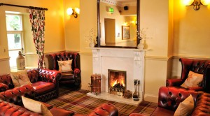 A roaring fire in the Craig Manor lounge