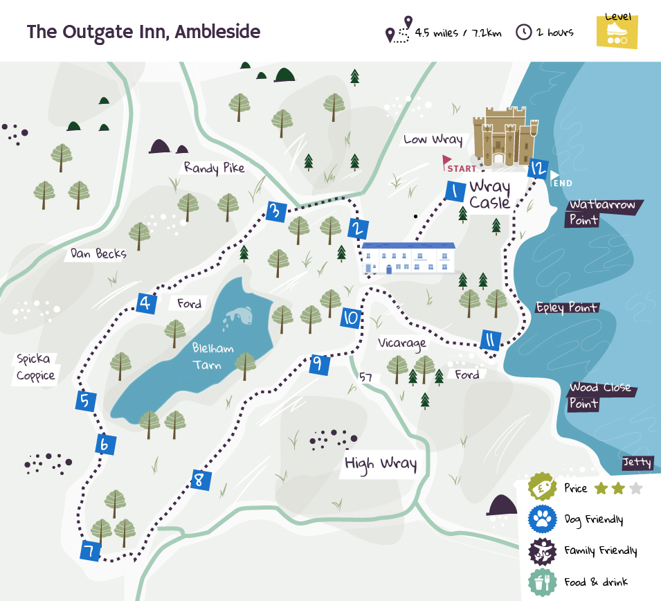 The Outgate Inn, Ambleside beer garden map