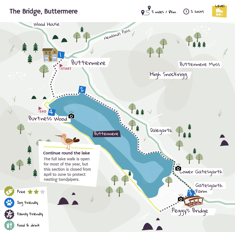 The Bridge, Buttermere beer garden map