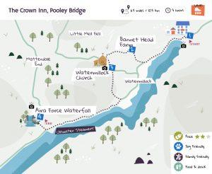 The Crown Inn, Pooley Bridge beer garden map